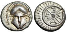 "Ancient Coins - Thrace, Mesembria AR Diobol ""Facing Corinthian Helmet & META Wheel"" EF"