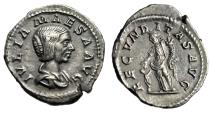 "Ancient Coins - Julia Maesa AR Denarius ""Fecunditas Feeding Child"" Rome RIC 249 Toned Good EF"