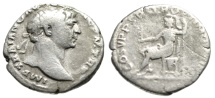 "Ancient Coins - Trajan AR Denarius ""Roma Seated Holding Victory"" Rome RIC 116 Budget"