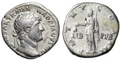 """Ancient Coins - Hadrian AR Denarius """"LIB PVB Libertas"""" Rome RIC 128a Good Fine"""