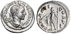 """Ancient Coins - Severus Alexander AR Denarius """"Jupiter with Thunderbolt"""" Rome 223 AD gVF"""