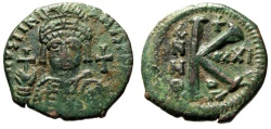 """Ancient Coins - Justinian I AE Half Follis """"Helmeted Bust Facing & Large K"""" RY 21 Antioch Scarce"""