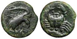 "Ancient Coins - Sicily, Akragas AE Tetras ""Eagle Eating Prey Hare & Crab"" Near VF"