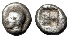 "Ancient Coins - Ionia, Kolophon AR Hemiobol ""Apollo Left & Irregular Incuse"""