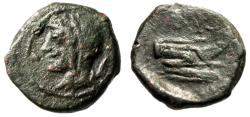 "Ancient Coins - Sicily, Panormos Under Roman Rule ""Veiled Demeter & Prow, Monogram"" After 241 BC"