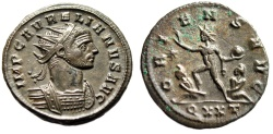"Ancient Coins - Aurelian AE Antoninianus ""ORIENS AVG Sol, Two Captives"" Ticinum Mint RIC 151 nEF"