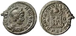 """Ancient Coins - Crispus Caesar AE18 """"Helmeted Bust & GLobe on Altar"""" Lyons RIC 134 Rare"""