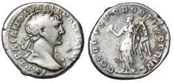 "Ancient Coins - Trajan AR Denarius ""Portrait & Winged Victory"" RIC 128 Good Fine"