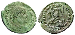 "Ancient Coins - Constantine I The Great AE20 ""SARMATIA DEVICTA Victory, Captive"" RIC 435 Green"