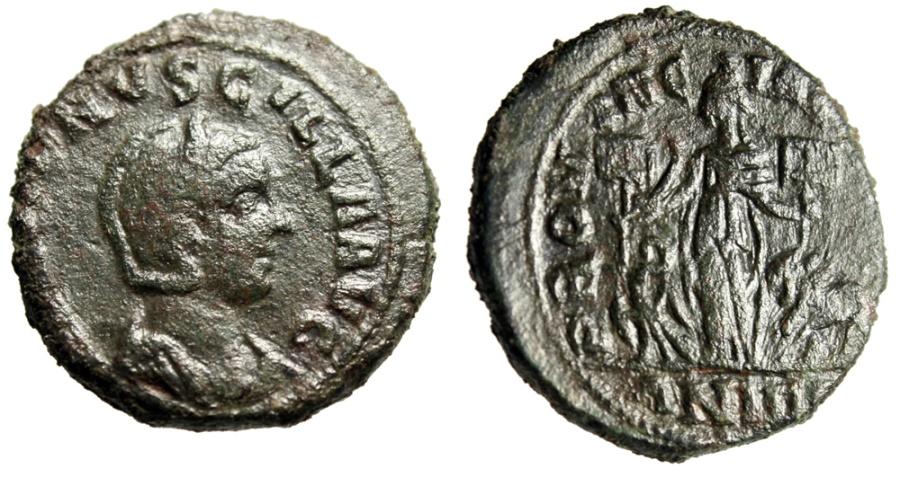 """Ancient Coins - Herennia Etruscilla AE29 """"Dacia , Lion Eagle, No Legion Banner"""" Dacian Mint Rare"""