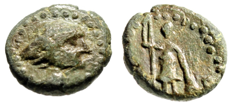 "Ancient Coins - Lycia, Oinoanda AE15 ""Hermes, Winged Diadem & Ares, Shield OA"" VF Rare"