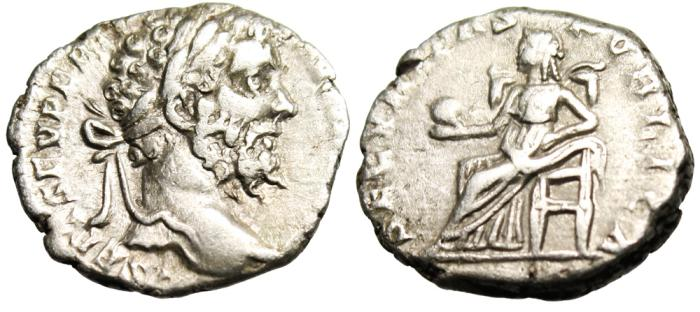 "Ancient Coins - Septimius Severus Silver AR Denarius ""Securitas Seated"" Rome RIC 93 aVF"