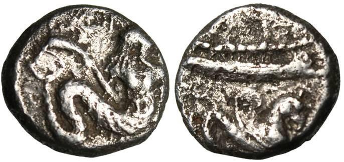 "Ancient Coins - Phoenicia, Arados AR Tetrobol ""Marine Diety W/ Dolphins & Griffin"" RARE"