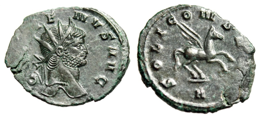 "Ancient Coins - Gallienus AE Antoninianus ""SOLI CONS AVG Pegasus Flying"" Rome RIC 283 EF"
