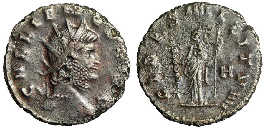 "Ancient Coins - Gallienus Billon Antoninianus ""FIDES MILITVM FIdes, H Right Field"" RIC Unlisted"