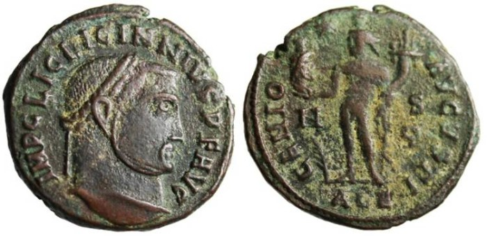 "Ancient Coins - Licinius Follis ""Genius Holding Head of Serapis"" Alexandria RIC 162a"