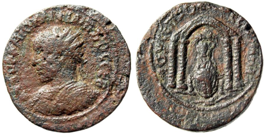 "Ancient Coins - Philip II AE26 ""Tyche Seated in Temple, River Deity Swimming"" Nisibis Near VF"