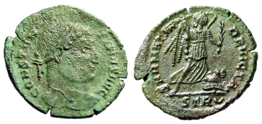 "Ancient Coins - Constantine I The Great AE20 ""SARMATIA DEVICTA Victory, Captive"" RIC 435 Green"