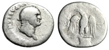 "Ancient Coins - Vespasian Silver Denarius ""Eagle on Cippus, Column"" Rome 76 AD RIC 99"