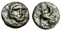 "Ancient Coins - Caria, Kaunos AE10 ""Facing Apollo & Sphinx Seated Left"" Circa 390-370 BC Scarce"