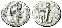 "Ancient Coins - Antoninus Pius Silver Denarius ""Salus, Rudder & Serpent Altar"" RIC 181 Near VF"