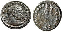 "Ancient Coins - Constantius I Chlorus AE Follis ""Genius of the Romans"" Heraclea RIC 20a Portrait"