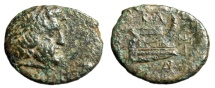 "Ancient Coins - King of Macedonia: Demetrios I Poliorketes AE17 ""Poseidon & Prow, Labrys"" gVF"