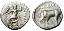 "Ancient Coins - Crete, Praisos AR Stater ""Zeus Seated & Bull Walking Right"" Extremely Rare VF"