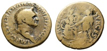 "Ancient Coins - Vespasian Sestertius ""ROMA RESVRGES Rebuilding of Rome"" 71 AD RIC 194 Rare"