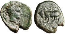 """Ancient Coins - Sicily, Gela AE Trias """"River Deity & Bull, Grain"""" Circa 4th Century BC VF"""