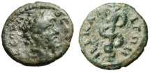 "Ancient Coins - Septimius Severus AE15 ""Serpent Entwined Staff"" Bithynia Nicaea Very Rare"