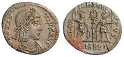 "Ancient Coins - Constantius II AE16 ""GLORIA EXERCITVS Soldiers"" Antioch RIC 52 Fleur de Coin FDC"