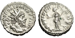 "Ancient Coins - Postumus Silver Antoninianus ""Providentia, Globe"" Cologne RIC 323 Good VF"