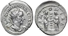 "Ancient Coins - Trajan Decius AR Antoninianus ""PANNONIAE Two Pannoniae, One Standard"" Good VF"