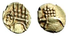 "Ancient Coins - India Gold AV 8mm Fanam ""Crude Patterns"" Circa 18th Century AD Choice EF"