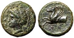 "Ancient Coins - Sicily, Syracuse AE Hemilitron ""Persephone & Forepart of Pegasus"" Good VF"