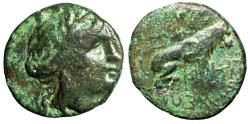 """Ancient Coins - Thrace, Lysimacheia AE19 """"Turreted Tyche & Lion Seated"""" Good Fine"""