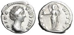 "Ancient Coins - Diva Faustina I Senior AR Denarius ""Aeternitas, Billowing Veil"" RIC 351 VF"