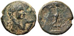 "Ancient Coins - Domitian AE23 of Caesarea Panias in Judea ""Nike"" RY 35 Agrippa II Scarce"