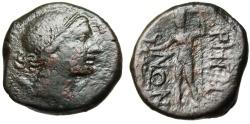 """Ancient Coins - Bruttium, Rhegion (Rhegium) AE23 """"Artemis & Apollo With Bird"""" Rare"""