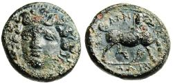 "Ancient Coins - Thessaly, Larissa AE Tetrachalkon ""Facing Nymph & Horse"" Rare nEF"