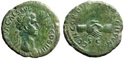 """Ancient Coins - Nerva AE As """"CONCORDIA EXERCITVVM SC Clasped Hands"""" 97 AD Near VF"""