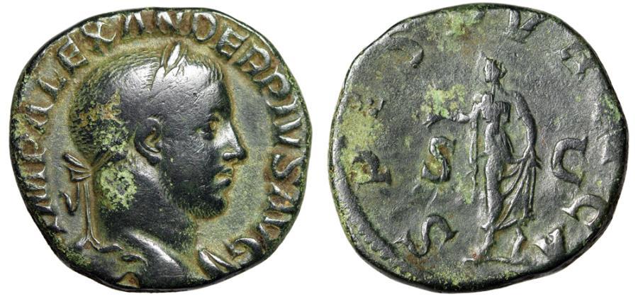 "Ancient Coins - Severus Alexander AE Sestertius ""SPES PVBLICA Spes"" Good Fine RIC 648b"