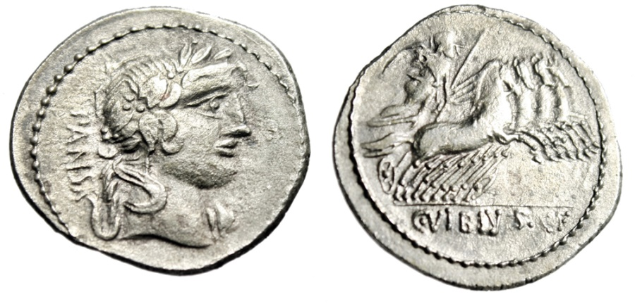 "Ancient Coins - C Vibius CF Pansa Contemporary Imitation Denarius ""Apollo & Quadriga"" gVF Rare"