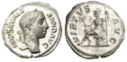 "Ancient Coins - Severus Alexander Silver Denarius ""Virtus Seated on Cuirass"" RIC 221 Choice EF"