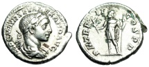 "Ancient Coins - Severus Alexander Silver Denarius ""Mars Holding Branch"" Rome 223AD RIC 23 VF"