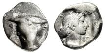 "Ancient Coins - Phokis, Federal Coinage Silver Triobol ""Facing Bull & Artemis"" 5th Century BC"
