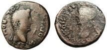 "Ancient Coins - Augustus AE33 Under Tiberius ""Busts of Augustus & Livia"" Spain Colonia Romula"