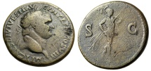 "Ancient Coins - Titus AE Sestertius ""Mars Walking, Spear & Trophy"" Thracian Mint RIC 499"