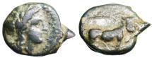 "Ancient Coins - Campania, Neapolis AE15 ""Apollo & Man-Headed Bull, Caduceus"" BMC 177"